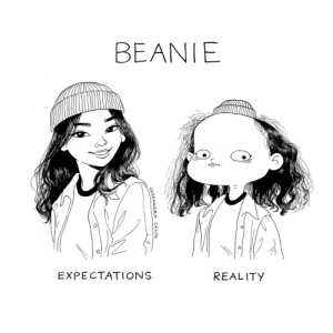c-cassandra:  I have a giant head.: BEANIE  EXPECTATIONS  REALITY c-cassandra:  I have a giant head.