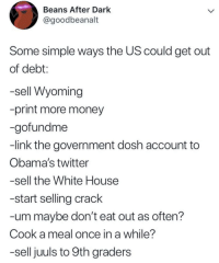 Memes, Money, and Twitter: Beans After Dark  @goodbeanalt  Some simple ways the US could get out  of debt:  -sell Wyoming  -print more money  -gofundme  -link the government dosh account to  Obama's twitter  -sell the White House  -start selling crack  -um maybe don't eat out as often?  Cook a meal once in a while?  -sell juuls to 9th graders How to get the U.S. out of debt via /r/memes http://bit.ly/2VTBzGP