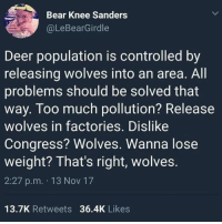 Deer, Memes, and Too Much: Bear Knee Sanders  @LeBearGirdle  Deer population is controlled by  releasing wolves into an area. All  problems should be solved that  way. Too much pollution? Release  wolves in factories. Dislike  Congress? Wolves. Wanna lose  weight? That's right, wolves.  2:27 p.m. 13 Nov 17  13.7K Retweets 36.4K Likes Let's get this going!!!