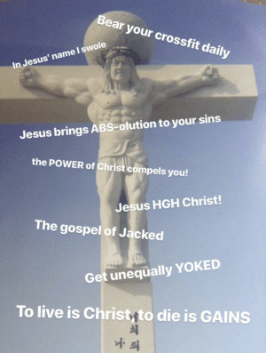 Jesus, Swole, and Bear: Bear your crossfit daily  In Jesus' name I swole  Jesus brings ABS-olution to your sins  the POWER of Christ compels you!  Jesus HGH Christ!  The gospel of Jacked  Get unequally YOKED  To live is Christyto die is GAINS  희 Give me strength, oh Lord