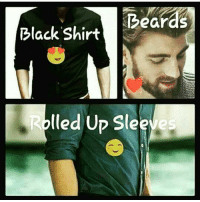 sle: Beard  Black Shirt  lled Up Sle  ve