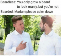 Beard, How, and Grow: Beardless: You only grow a beard  to look manly, but you're not  Bearded: Madam,please calm down How dare you