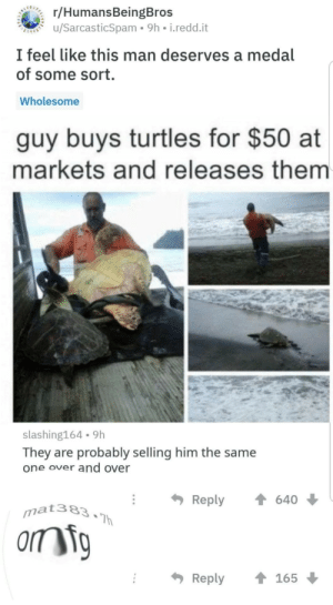 Wholesome, Him, and Turtles: BEARERC/HumansBeingBros  u/SarcasticSpam 9h i.redd.it  I feel like this man deserves a medal  of some sort.  Wholesome  guy buys turtles for $50 at  markets and releases them  slashing164 9h  They are probably selling him the same  one over and over  Reply  640  mat383.Th  orm ig  Reply  165