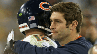 Chicago, Chicago Bears, and Detroit: BEARS <p>Smokin&rsquo; Jay Cutler congratulates Chicago Bears backup QB Josh McCown on defeating the Green Bay Packers last night 27-20. Reports have Smokin&rsquo; Jay potentially returning next week against the Detroit Lions.</p> <p>Fan submission (courtesy of Mika69)</p>