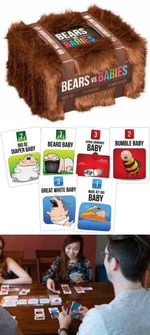 Beard, Tumblr, and Bears: BEARS  BABIES  tg BEARSYSBABIES.COM  BEARS US BABIES  AGES 10+  2-5 PLAYERS  20 MIN TO PLAY  GBEARSYSBABIES.COM   3  2  3  21  AERIAL ORDNANCE  BUMBLE BABY  BEARD BABY  BIG OL'  BABY  DIAPER BABY  GREAT WHITE BABY  NUDE JET-SKI  BABY   L ARES  BEARS novelty-gift-ideas:  Bears vs Babies: A Card Game From the Creators of Exploding Kittens