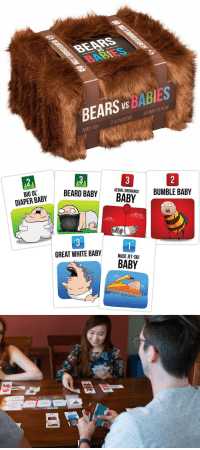 Tumblr, Bears, and Blog: BEARS Vs BABIES  AGES 10+  2-5 PLAYERS  20 MIN TO PLAY   /3  2  BIG OL  AERIAL ORDNANCE  BUMBLE BABY  DIAPER BABYBEARD B  GREAT WHITE BABY ..  NUDE JET-SKI  BABY novelty-gift-ideas:  Bears vs Babies: A Card Game From the Creators of Exploding Kittens