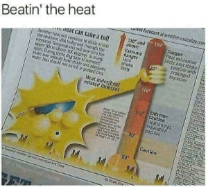 Get ready for a bunch for the white stuff! Sunscreen is great.   You need your required daily intake of memes! Follow @nochillmemes for help now!: Beatin' the heat  eat can take a toll  SUmmer heat will cOnticue to sizze actoss  the southern USA today and through the  weekend Temperatures will soar into the  upper 90s to above 100 degrees in many  spots During these dog days of summer  make sure animals have shade and adequate  Water Pets should not be lef in parked cars  est forecast at weather.usatoday.com  130 and  above  Danger  Heat exhaustion  likely, heat stroke  possible with  prolonged  exposure  Extreme  danger  Heat  stroke  ikely  120  Berak  cedati  Chanes  Colerad  Columbt  ayteng  Taytona  Des Moine  Heat index/lheat  related illnesses  TO0 Extreme  caution  Heat cramps  exhaustion  Nite leat index  ANcomblee  Ise tfiern of  amdtr and  temperaiure  roearea in the  EPaso  Fort MyerL  Dieina  Crasa kapin  Greensboro,N  Creeavnie, se  Maisbur  Hamford Conre  HuntsvitinA  iaip, NY  Sckion, Miss  CKSonville  KnOXVite renn  texington y  Urtic Ro  r9isSod  TpOnlathe  Suncaninavie  the heat foorx ty  Jrmach as 1S  90  Caution  80  Naoat Whirme Anrncanked Cro  IFINegativeFriends Get ready for a bunch for the white stuff! Sunscreen is great.   You need your required daily intake of memes! Follow @nochillmemes for help now!