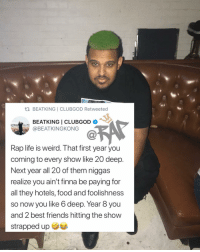 faxxx ⁉️ where my loyal rapsavages thats still gonna be rocking with me 8 years from now⁉️ Follow @bars for more ➡️ DM 5 FRIENDS: BEATKING I CLUBGOD Retweeted  BEATKING I CLUBGOD .  @BEATKINGKONG  Ca  Rap life is weird. That first year you  coming to every show like 20 deep.  Next year all 20 of them niggas  realize you ain't finna be paying for  all they hotels, food and foolishness  so now you like 6 deep. Year 8 you  and 2 best friends hitting the show  strapped up faxxx ⁉️ where my loyal rapsavages thats still gonna be rocking with me 8 years from now⁉️ Follow @bars for more ➡️ DM 5 FRIENDS