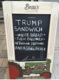 😂: Beaus  ALL SAtoIAL BRE WINS COMPANY  TRUMP  SANDWICH  WHITE BREAD  Full of  BALONEy  RussiAN DRESSING  AND ASnALA PICKLE  Beaus 😂
