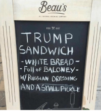white bread: Beaus  ALL SATURAL SREWING COMPANT  TRUMP  SANDWICH  WHITE BREAD  Full of BALONEY  AND ASMALA PICKLE