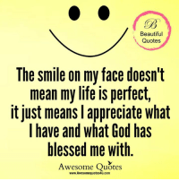 Beautiful, Blessed, and God: Beautiful  Quotes  The smile on my face doesn't  mean my life is perfect,  it just means l appreciate what  I have and what God has  blessed me with  Awesome Quotes  www.Awesomequotes4u.com