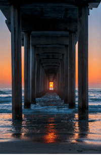 Beautiful sunset under a pier: Beautiful sunset under a pier