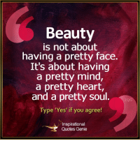 Memes, 🤖, and Genie: Beauty  is not about  having a pretty face.  It's about having  a pretty mind,  a pretty heart,  and a pretty soul.  Type 'Yes' if you agree!  A Inspirational  Quotes Genie <3 Inspirational Quotes Genie