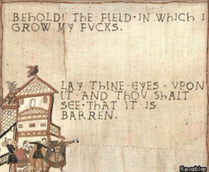 Classicold, but good: BEbOLD! ThE FIELD IN WhiCb 1  GROW My FVCKs.  LAY ThINE ES VPON  IT AND TbOV ShAIT  SCE THAT IT 1S  BARREN  flamablep Classicold, but good