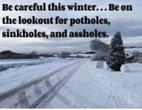 sinkhole: Becareful this winter...Be on  the lookout for potholes,  sinkholes, and assholes.