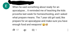 Because 7 year olds are incredibly concerned with having enough food and weapons...: Because 7 year olds are incredibly concerned with having enough food and weapons...