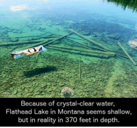 Dank, Montana, and Water: Because of crystal-clear water,  Flathead Lake in Montana seems shallow  but in reality in 370 feet in depth