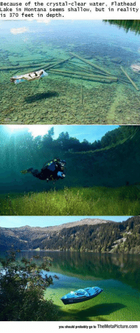 srsfunny:The Clearest Lake In The World: Because of the crystal-clear water, Flathead  Lake in Montana seems shal Tow, but in real ity  is 370 feet in depth.  you should probably go to TheMetaPicture.com srsfunny:The Clearest Lake In The World