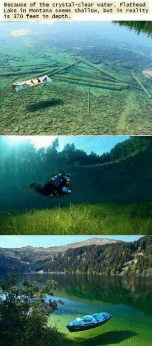 Montana, Water, and Reality: Because of the crystal-clear water, Flathead  Lake in Montana seems shallow, but in reality  is 370 feet in depth. Flathead Lake, Montana
