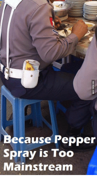 pepper spray: Because Pepper  Spray is Too  Mainstream  VIA 9GAG.COM