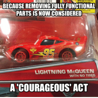 Damn you, Phil Schiller!: BECAUSE REMOVING FULLY FUNCTIONAL  PARTS IS NOW CONSIDERED  LIGHTNING McQUEEN  WITH NO TIRES  A COURAGEOUS ACT Damn you, Phil Schiller!