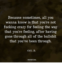 Crazy, Fucking, and Http: Because sometimes, all you  wanna know is that you're not  fucking crazy for feeling the way  that you're feeling, after having  gone through all of the bullshit  that you've been through.  CiCi. B.  wordables. Learn new words daily! ➡️: http://bit.ly/2gcWwMs