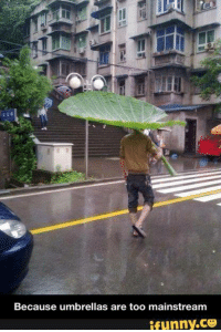 Funny, Ares, and Mainstream: Because umbrellas are too mainstream  ifunny.CO