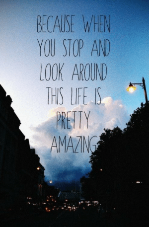 Look Around: BECAUSE WEN  YOU STOP AN  LOOK AROUND  THIS LIFE IS