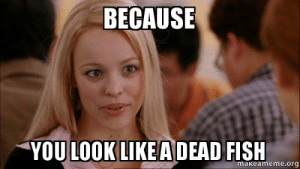 BECAUSE YOU LOOK LIKE A DEAD FISH - Mean Girls Meme | Make a Meme: BECAUSE  YOU LOOK LIKEA DEAD FISH  makeameme.org BECAUSE YOU LOOK LIKE A DEAD FISH - Mean Girls Meme | Make a Meme