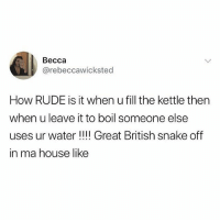 @memezerino is a must follow for meme lovers: Becca  @rebeccawicksted  How RUDE is it when u fill the kettle then  when u leave it to boil someone else  uses ur water !!!! Great British snake off  in ma house like @memezerino is a must follow for meme lovers