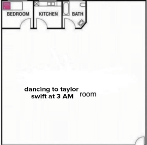 Dancing, Taylor Swift, and How: BEDROOM KITCHEN  BATH  dancing to taylor  swift at 3 AM  room how do we feel about my new potential apartment floor plan? should i take the lease?