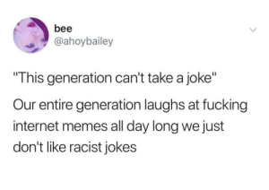 "Memes : bee  @ahoybailey  This generation can't take a joke""  Our entire generation laughs at fucking  internet memes all day long we just  don't like racist jokes Memes"