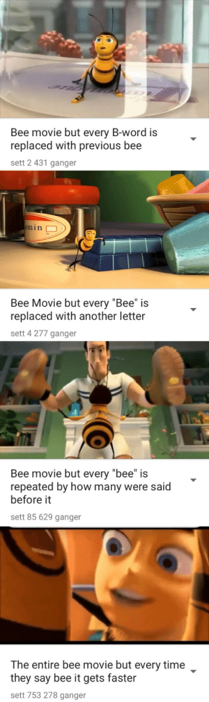 "tyleretta:  Why do these exist: Bee movie but every B-word is  replaced with previous bee  sett 2 431 ganger   min  Bee Movie but every ""Bee"" is  replaced with another letter  sett 4 277 ganger   Bee movie but every ""bee"" is  repeated by how many were said  before it  sett 85 629 ganger   The entire bee movie but every time  they say bee it gets faster  sett 753 278 ganger tyleretta:  Why do these exist"