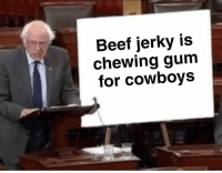 Beef, Dallas Cowboys, and Shit: Beef jerky is  chewing gum  for cowboys How do cowboys afford that shit @trashcanpaul