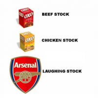 Arsenal are a joke 😳👏😂: BEEF STOCK  oxo  CHICKEN STOCK  Arsenal  LAUGHING STOCK Arsenal are a joke 😳👏😂