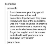 "America, New Year's, and Chinese: beefmilk2:  pansoph:  for chinese new year they get all  these famous actors and  comedians together and they do a  lil show and one of the comedians  was like ""i was in a hotel in america  once and there was a mouse in my  room so i called reception except i  forgot the english word for mouse  so instead i said you know tom  and jerry? jerry is here  jerry is here Here's Jerry!"