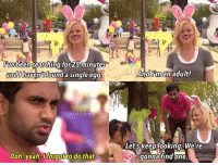 Happy Easter!!! 🐣🐰 parksandrecreation parksandrec amypoehler leslieknope tomhaverford azizansari: been searching for25 minutes  and  haven't  found a single egg  @parks. n.rec  ooh, yeah, forgotto do that And man adult!  Let's keeolooking. We're  gonna find one. Happy Easter!!! 🐣🐰 parksandrecreation parksandrec amypoehler leslieknope tomhaverford azizansari