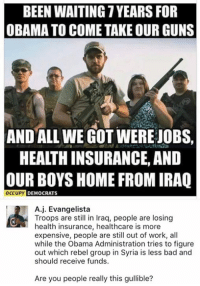 Bad, Guns, and Memes: BEEN WAITING YEARS FOR  OBAMA TO COME TAKE OUR GUNS  AND ALL WE GOT WERE JOBS,  HEAITHINSURANCE, AND  OUR BOYS HOME FROM IRAQ  OCCUPY DEMOCRATS  A j. Evangelista  Troops are still in Iraq, people are losing  health insurance, healthcare is more  expensive, people are still out of work, all  while the Obama Administration tries to figure  out which rebel group in Syria is less bad and  should receive funds  Are you people really this gullible? (GC)