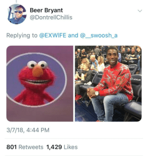 Elmo with teeth looks like Gucci Mane and I will hear no arguments: Beer Bryant  @DontrellChillis  Replying to @EXWIFE and @_swoosh_a  3/7/18, 4:44 PM  801 Retweets 1,429 Likes Elmo with teeth looks like Gucci Mane and I will hear no arguments