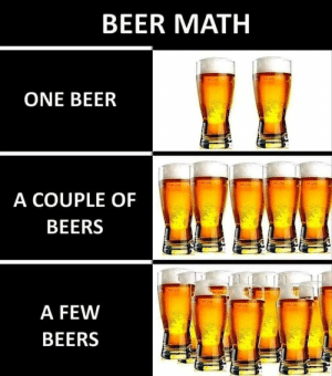 Beer Math: BEER MATH  ONE BEER  A COUPLE OF  BEERS  A FEW  BEERS Beer Math