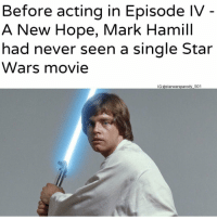 meirl: Before acting in Episode IV  A New Hope, Mark Hamill  had never seen a single Star  Wars movie  IG:@starwarsparody 501 meirl