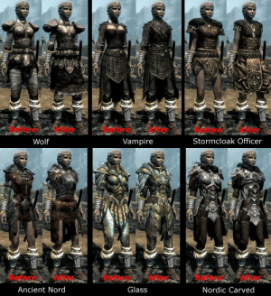 tomatomagica:  yall-mothafuckers-need-talos:  roly-cannoli:   roly-cannoli:    I found the only good mod on the entire nexus  what have i done to deserve these clowns hijacking my post I am Waging War against Tiddy Plates. These Fools will Not get in My Way    Seriously? The Nordic carved armor looks so much better   : Before After  Before After  Before After  Stormcloak Officer  Wolf  Vampire   Before After  Glass  Before After  Before After  Ancient Nord  Nordic Carved tomatomagica:  yall-mothafuckers-need-talos:  roly-cannoli:   roly-cannoli:    I found the only good mod on the entire nexus  what have i done to deserve these clowns hijacking my post I am Waging War against Tiddy Plates. These Fools will Not get in My Way    Seriously? The Nordic carved armor looks so much better