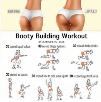 RT @FactofWorkout: Booty workout 🍑🍑 https://t.co/NqqQmXfvNk: BEFORE  AFTER  Booty Building Workout  @ EATMORENOT.LESS  30 second squat pulses  30 second doggy hydrants  30 second donkey kicks  30 second air squats  30 second side to side jump squats 30 second lunge front kicks RT @FactofWorkout: Booty workout 🍑🍑 https://t.co/NqqQmXfvNk