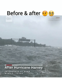 Omg 😳😢 via @cnn - On most days, Interstate 10 near Winnie, Texas, looks like any other highway. But not today. Hurricane Harvey has turned it into a lake - whitecaps and all. @pmwhiphop hurricaneharvey texas Harvey: Before & after  LOGAN WHEAT  After Hurricane Harvey  INTERSTATE 1O NEAR  WINNIE, TEXAS Omg 😳😢 via @cnn - On most days, Interstate 10 near Winnie, Texas, looks like any other highway. But not today. Hurricane Harvey has turned it into a lake - whitecaps and all. @pmwhiphop hurricaneharvey texas Harvey