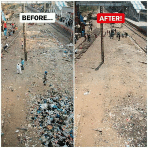 India, Today, and Mumbai: BEFORE...  AFTER! Today we cleaned up a side of a railway station in Mumbai, India.
