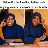 """Peace and love, my name is Farhio, I am 19, I am a University student. I am a happy maker, and I am very happy. In fact everyday I'm happy especially when finishing exams. I am a pre Medical doctor, and this is not the last time you will see my face. I am going to help make things better in this world, I have started by make people happy."" lovearmyhumans lovearmyforsomalia She hit the Malcolm X lean :): Before & after (told her that her smile  is going to make thousands of people smile. ""Peace and love, my name is Farhio, I am 19, I am a University student. I am a happy maker, and I am very happy. In fact everyday I'm happy especially when finishing exams. I am a pre Medical doctor, and this is not the last time you will see my face. I am going to help make things better in this world, I have started by make people happy."" lovearmyhumans lovearmyforsomalia She hit the Malcolm X lean :)"