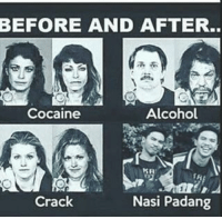 Alcohol, Cocaine, and Indonesian (Language): BEFORE AND AFTER.  Cocaine  Alcohol  KH  Crack  Nasi Padang