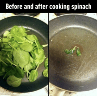9gag, Memes, and 🤖: Before and after cooking spinach Come on, I'm just trying to eat healthy here.⠀ -⠀ spinach thestruggleisreal 9gag