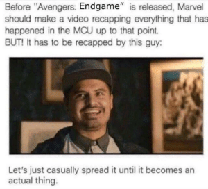 "Dank, Memes, and Target: Before ""Avengers. Endgame"" is released, Marvel  should make a video recapping everything that has  happened in the MCU up to that point.  BUT! It has to be recapped by this guy:  Let's just casually spread it until it becomes an  actual thing. LeTs GeT tHiS Breb! by f1zz133 MORE MEMES"