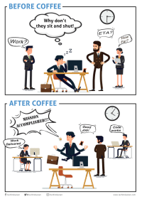 Before Coffee vs After Coffee: BEFORE COFFEE  Why don't  they sit and shut!  ETA?  Work?  How  Far?  AFTER COFFEE  MISSION  ACCOMPLISHED!!!  Good  Job!  Code  works  Work  Delivered  CT  /techindustan techindustan techindustan Before Coffee vs After Coffee
